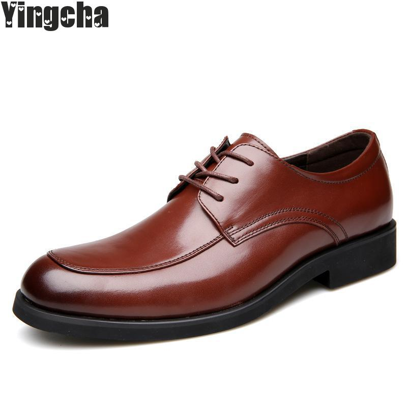 New 2018 Business Dress Men Formal Shoes Wedding Pointed Toe Fashion Genuine Leather Shoes Flats Oxford Shoes For Men цены онлайн