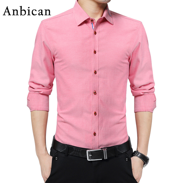 Anbican Fashion Pink Casual Shirt Men 2017 Brand New Long Sleeve ...