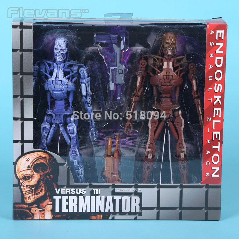 NECA VERSUS The Terminator Endoskeleton Assault PVC Action Figures Collectible Toys 2-pack MVFG281 gmasking terminator 2 t800 endoskeleton skull head statue scale 1 2 replica