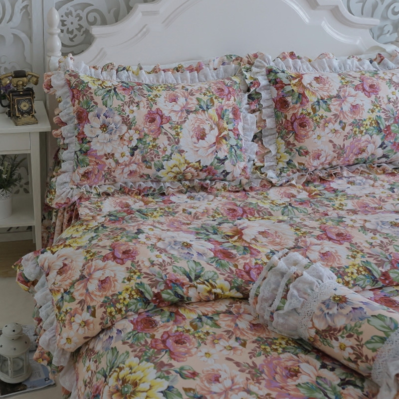 Free Shipping European Floral Lace Bedding Ruffles