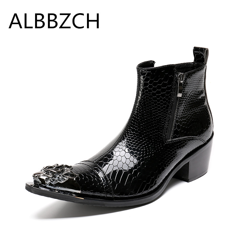 Spring autumn new mens fashion metal design pointed toe embossed patent leather boots high heel shoes men ankle boots work bootsSpring autumn new mens fashion metal design pointed toe embossed patent leather boots high heel shoes men ankle boots work boots