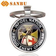 Vintage Infidel Nation Proud Enemy of Islam Knight Templar Glass Pendant Key Chain Classic Men Women key rings