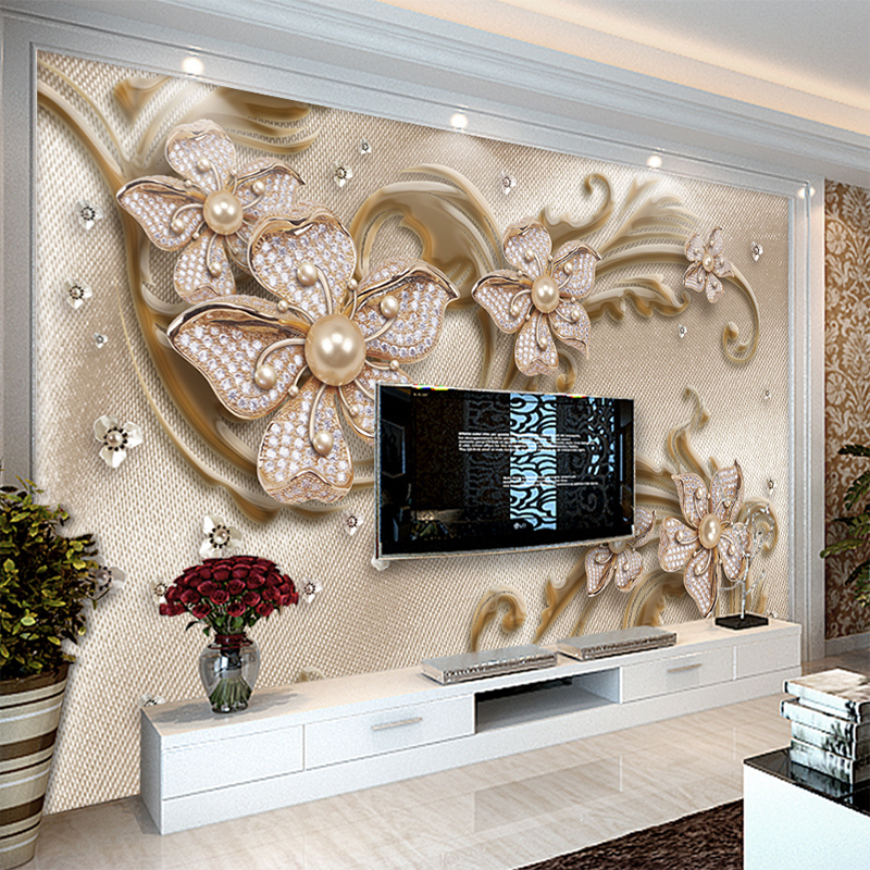 Custom Mural Wallpaper European Style Luxury 3D Stereoscopic Jewelry Flower TV Background Wall Decoration Wallpaper Living Room