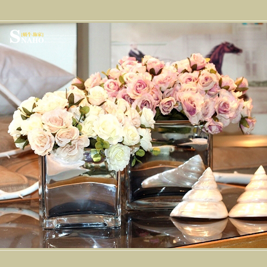 Square Rococo Mirror Glass Vase Flower Simulation Flower Vase