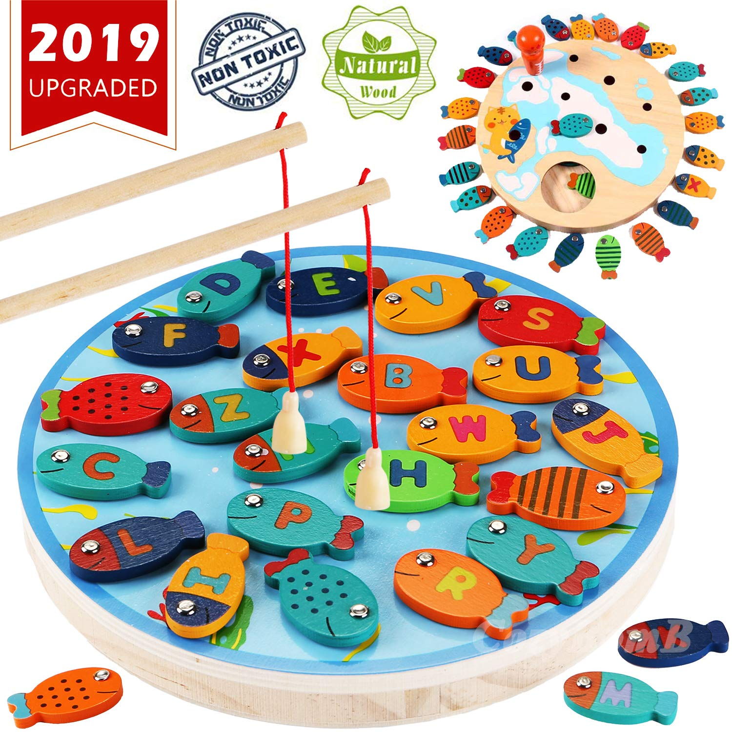 Magnetic Wooden Fishing Game Toy For Toddlers Alphabet Fish Catching Counting Board Games Toys For 2 3 4 Year Old
