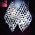 Luxo total rhinestone geométrica rhombus dangle brincos para mulheres casamento prom brilhantes brincos de prata brincos de jóias das senhoras