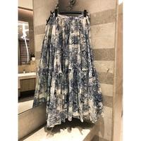 Fashion women's cotton print ladies black blue party casual skirt runway bohemian skirt