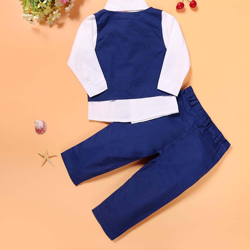 Mavi oğlanlar Blazer kostyumu Uşaqlar Vest + Qalstuk + Bluz + - Uşaq geyimləri - Fotoqrafiya 6