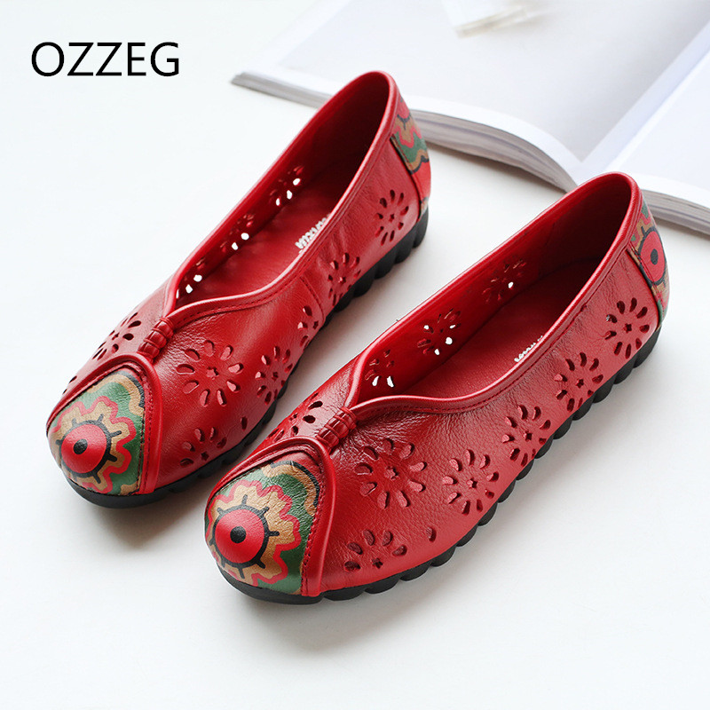 Women Loafers Flat Shoes Spring Summer Casual Shoes Women Soft Leather Shoes Breath Slip On Flats Round Toe Ethnic Shoes Female odetina 2017 spring elegant driving shoes loafers women fashion pointed toe flats slip on boat shoes grandma casual flat shoes