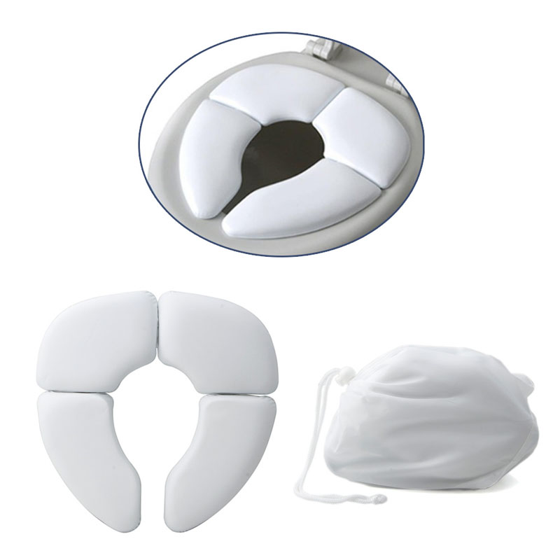 1pc White Portable Folding Child Baby Toilet Seat Soft