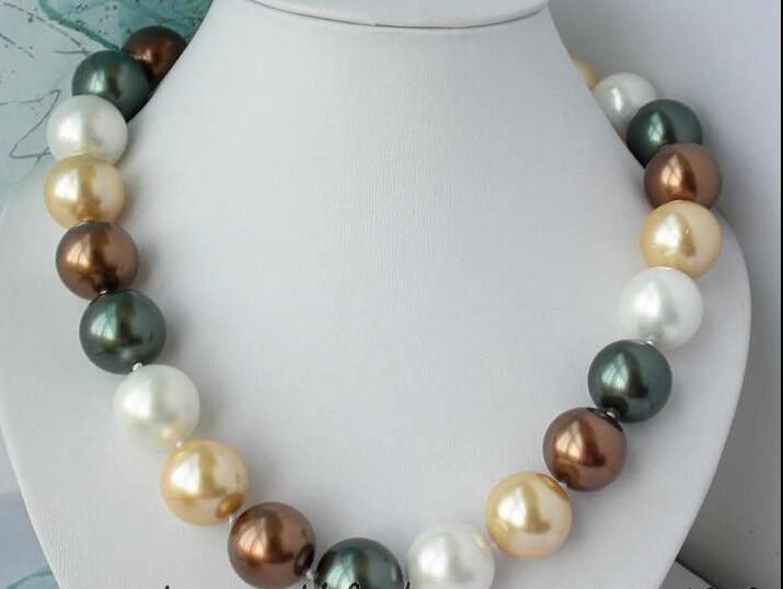 Livraison gratuite @ @ @ @ @ Az2518 20mm or noir blanc sud shell perle collier un 6.08