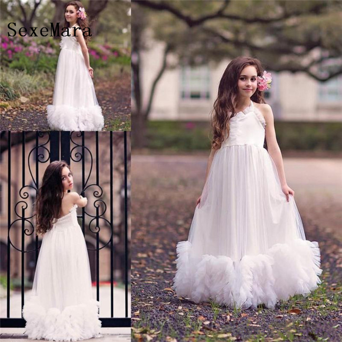 White Cloud   Flower     Girls     Dresses   For Weddings A Line Ruffles Ankle Length Kids Pageant Gown   Girls   Birthday   Dress   Size 2-14Y