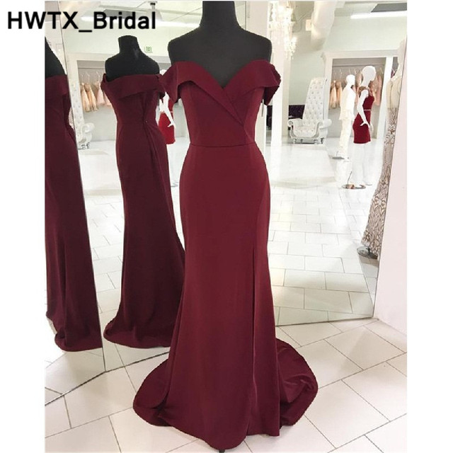 Side Slit Mermaid Bridesmaid Dresses Long Sexy Backless Wedding Party Dress  2018 Sweetheart Burgundy Bride Maid of Honor Gowns d8ad7a746d75