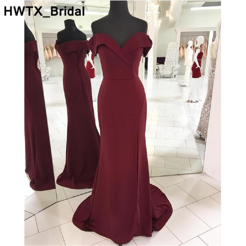Side Slit Mermaid   Bridesmaid     Dresses   Long Sexy Backless Wedding Party   Dress   2018 Sweetheart Burgundy Bride Maid of Honor Gowns