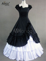 Ainclu Clearance Sale!! Women's Vintage Lolita Dresses Costume Victorian Black Cotton Ruffle Retro Maxi Dress for Halloween