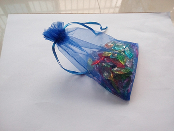 1000pcs 10*15 Blue gift bags for jewelry/wedding/christmas/birthday Organza Bags with handles Packaging Yarn bag