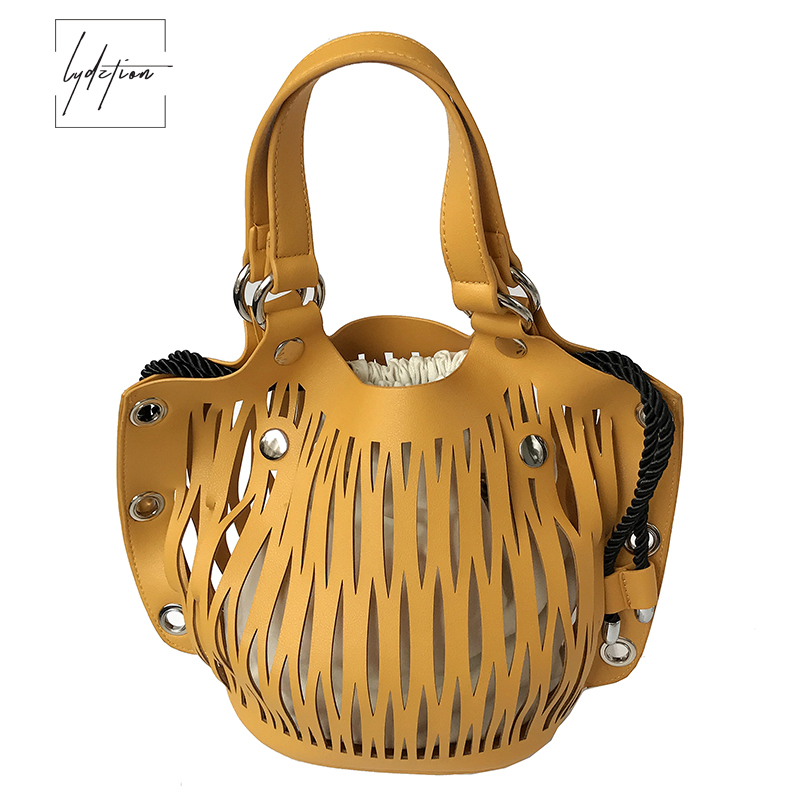 LYDZTION Leisure Bucket Bag Women 2018 New Hollow Out Linen Bag Pumping Belt Bag Shoulder Messenger Bag Yellow Totes