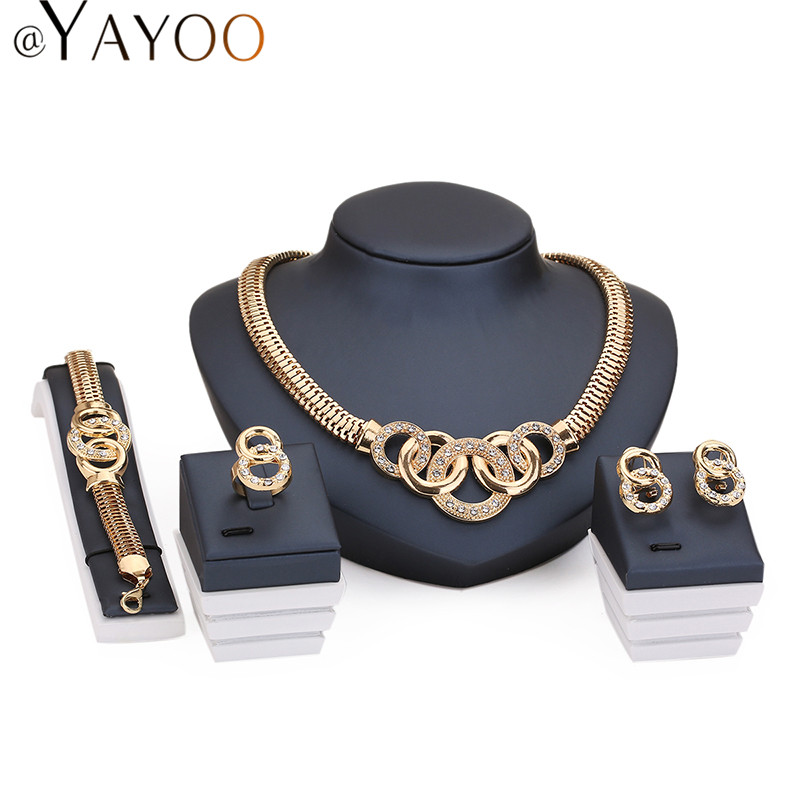 Jewelry Sets For Women African Beads 18K Gold Plated Bridal Round Necklace Bracelet Crystal Earrings Rings Wedding Accessories