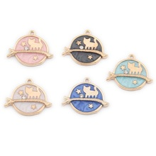 TJP 10pcs Gold Enamel Colorful Drop Oil Cute Cat Star Round Charms Pendants for DIY Handmade Jewelry Making Findings 12x26mm