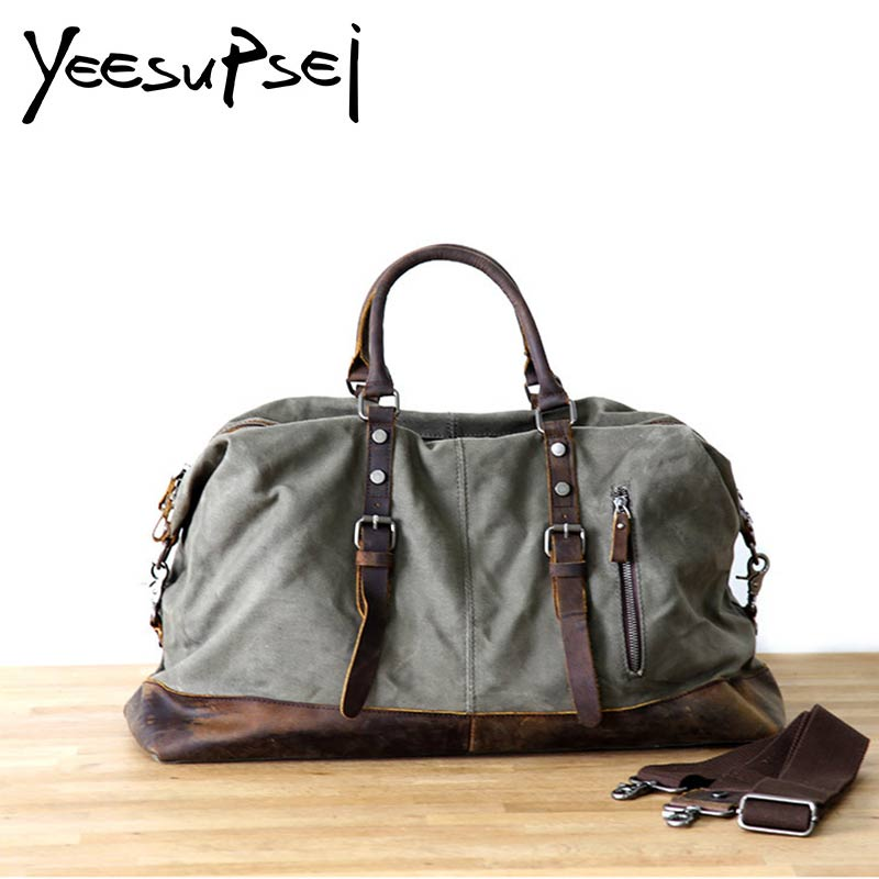 YeeSupSei Canvas Leather Men Travel Bags Carry on Luggage Bags Men Duffel Bags Travel Tote Large Capacity Weekend Bag Overnight markroyal canvas men travel bags carry on luggage bags men duffel bag travel tote large weekend bag overnight high capacity