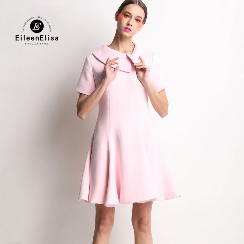 Runway Dress Women 2017 High Quality Cute Pink Dress Luxury Dresses With Ruffled Neck jenni new pink solid ruffled chemise l $39 5 dbfl