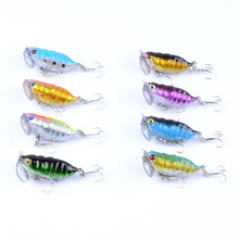 8Pcs/Lot 4cm/4.4g Insect Fishing Lure Top Water Wobblers Popper Pesca Baits Artificial Hard Isca With 2 Treble Hooks For