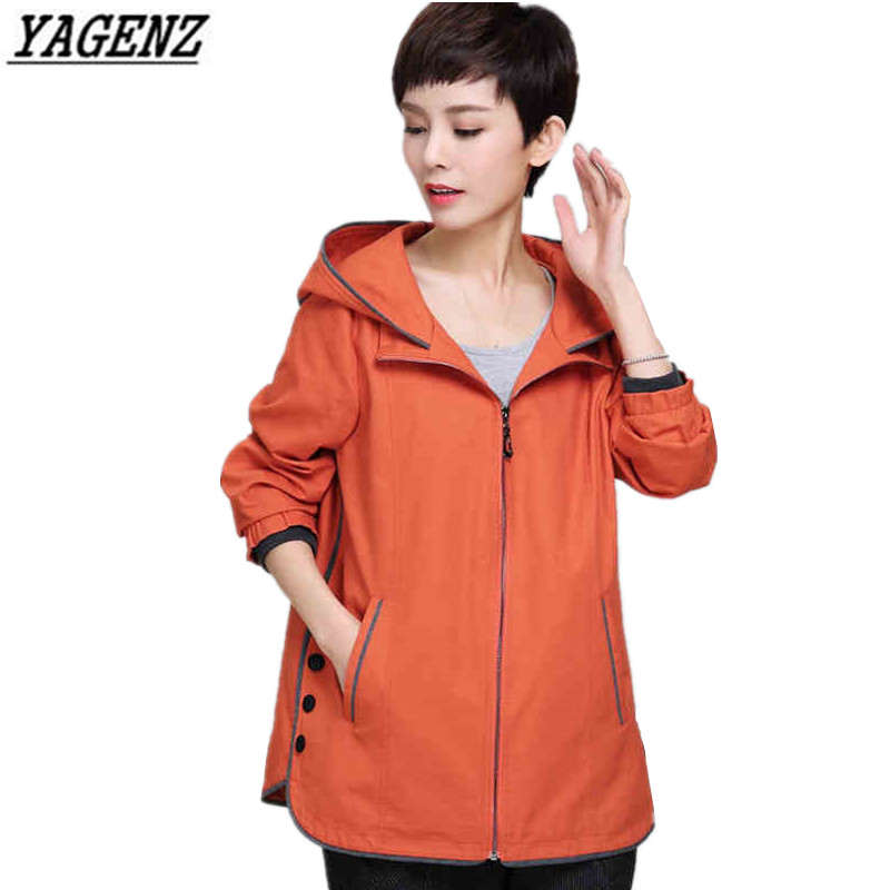YAGENZ Fashion Spring Women   Trench   Coat 2018 Loose Long sleeves Hooded Coat Autumn Big size Windbreaker Female M-4XL Outerwear