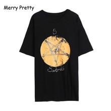 Merry Pretty black cotton t-shirt women o-neck half sleeve cut out long tee tops star print funny t shirt femme big size M-2XL