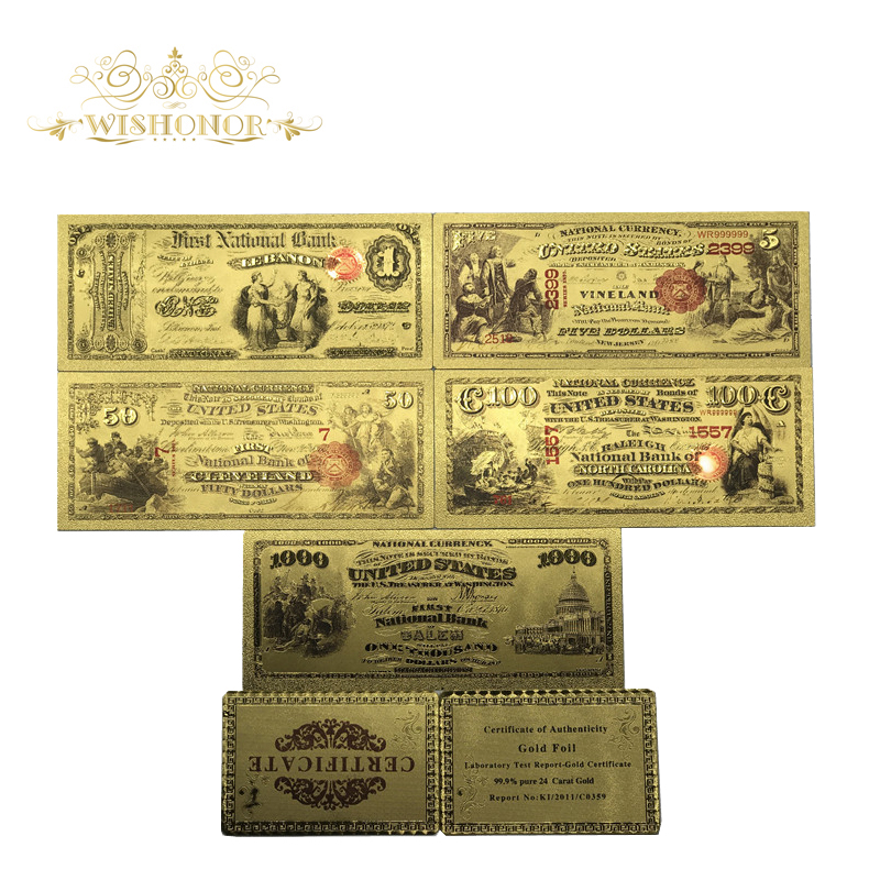 Best Price For 1875's American Gold Banknotes 1 5 50 100 1000 Dollar Banknotes in 24k Gold Plated Paper Money For Collection image