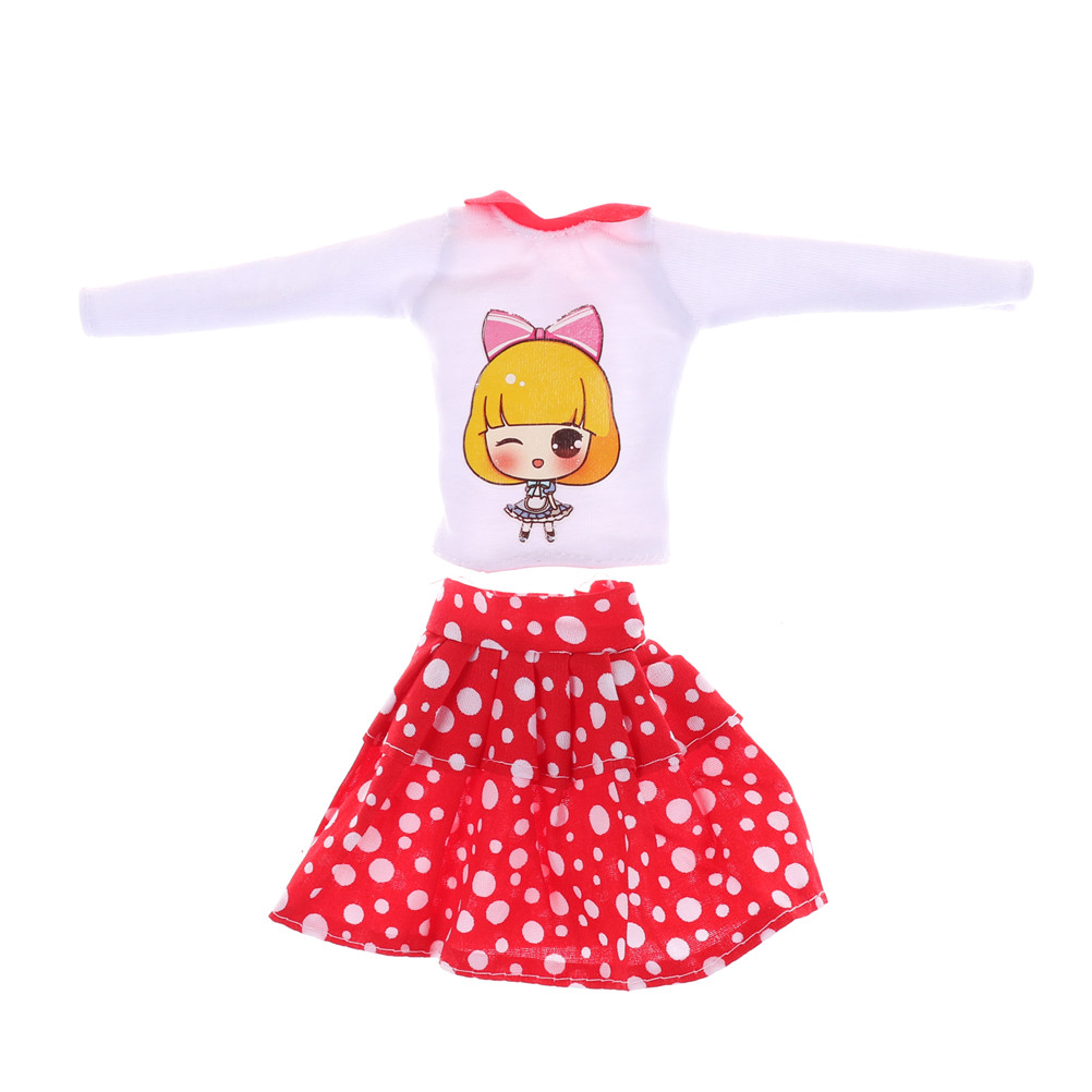 2PCS/set Dolls Clothes White Dots Skirt Beautiful Sorts Handmade Fashion Party Dress For  Doll Best Girl's Gift Kid's Toy