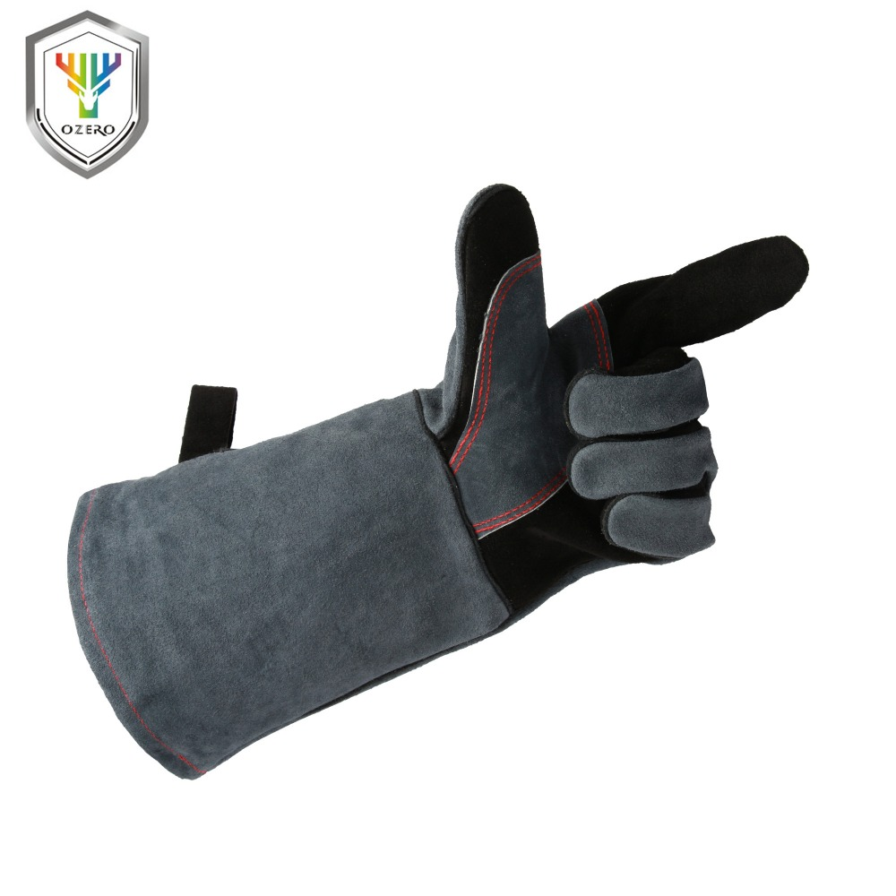 OZERO Welding Glove Work Welder's Cowskin Leather Barbecue Gloves Working Garden Protective Cut Resistant Long Sleeve Glove 1102
