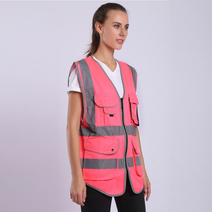 Image 5 - הוורודה לנשים היי Vis אפוד עם פסים רעיוני בטיחות אפוד עם כיסי רוכסן