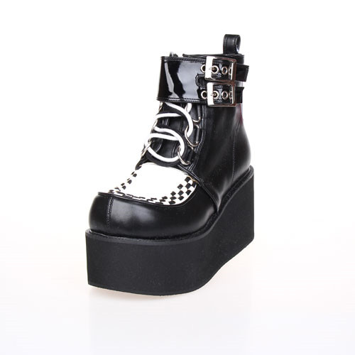Punk Winter Lolita Girl Ankle Boots Wedge Heels Shoes Harajuku Female Leather Thick Sole Boots Women Platform Boots With Buckles