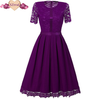 Vintage Tunic Lace Dress Femal Robe Patchwork Casual 1950s Rockabilly Short Cap Sleeve Swing Summer Dresses
