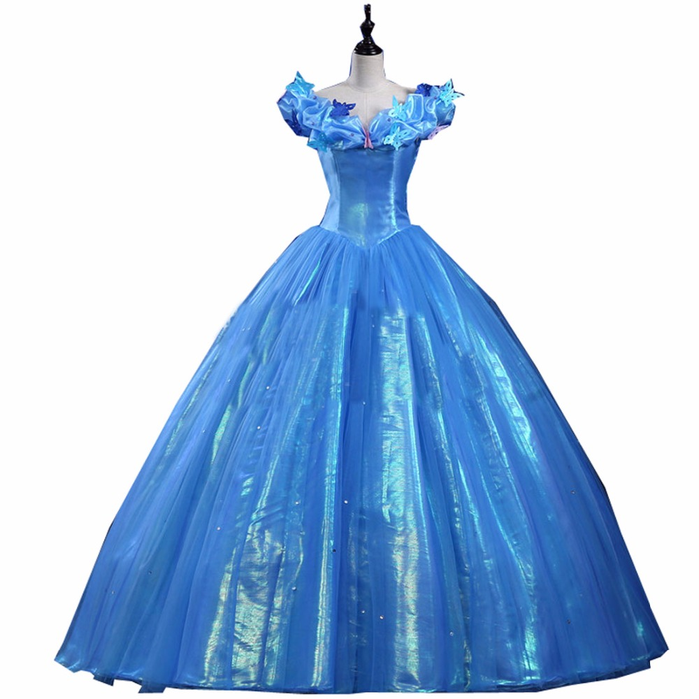 Princess Cinderella Wedding Dress Costume For: 2018 New Princess Cinderella Cosplay Costume Adult Blue