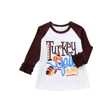 Toddler Kids T-shirt Baby Girl Boy Ruffle Letter Turkey Tops Thanksgiving infant Kids Clothes Boys T Shirts for Kid Dropshipping(China)