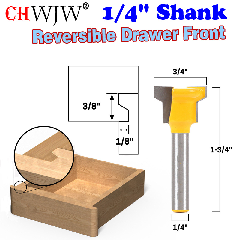 1/4 Shank Reversible Drawer Front Router Bit For Woodworking Cutter Tool Milling Cutter high grade carbide alloy 1 2 shank 2 1 4 dia bottom cleaning router bit woodworking milling cutter for mdf wood 55mm mayitr