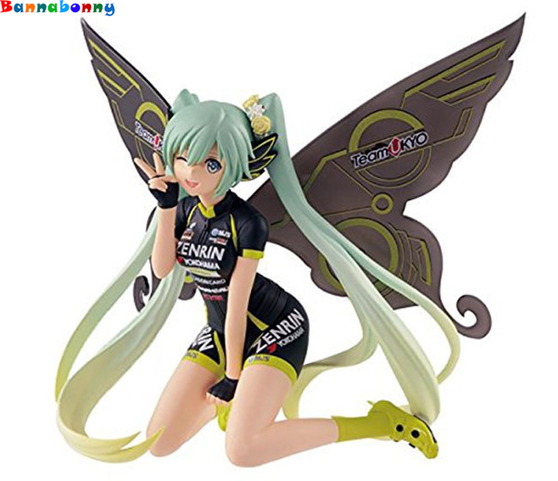 2018 Newest 10CM Anime Hatsune Miku Action Figure Racing Miku Team UKYO Butterfly CHEERING ver Collection figure Model Kids Toy hatsune miku ride bicycle figma 307 racing miku 2015 teaomukyo support ver pvc figure collectible toy 15cm kt4009