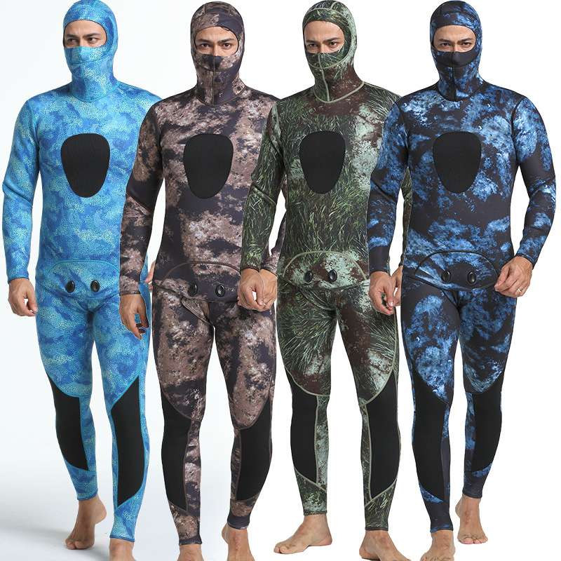 3mm Camouflage Long Sleeved Fission Hooded Two Pieces Of Neoprene Submersible Suit For Men Keep Warm Waterproof Diving Suit3mm Camouflage Long Sleeved Fission Hooded Two Pieces Of Neoprene Submersible Suit For Men Keep Warm Waterproof Diving Suit