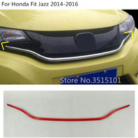 Car body cover bumper engine ABS trim Front Racing Grid Grill Grille frame part molding 1pcs For Honda Fit Jazz 2014 2015 2016