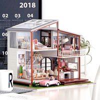 DIY Модель Кукольный дом Casa Миниатюрный Кукольный домик с мебелью LED светодио дный деревянный дом, игрушки для детей ручной работы ремесла A080