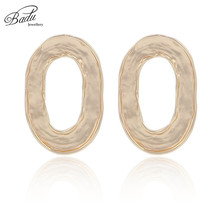 Badu Gold Oval Stud Earrings Hallowing Geometric Big Punk Statement for Women 2018 Korean Fashion Jewelry Wholesale