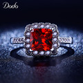 Ruby rings for women withe Gold plated AAA CZ Diamond unique vintage jewelry wedding band crown red crystal rings for girls R200
