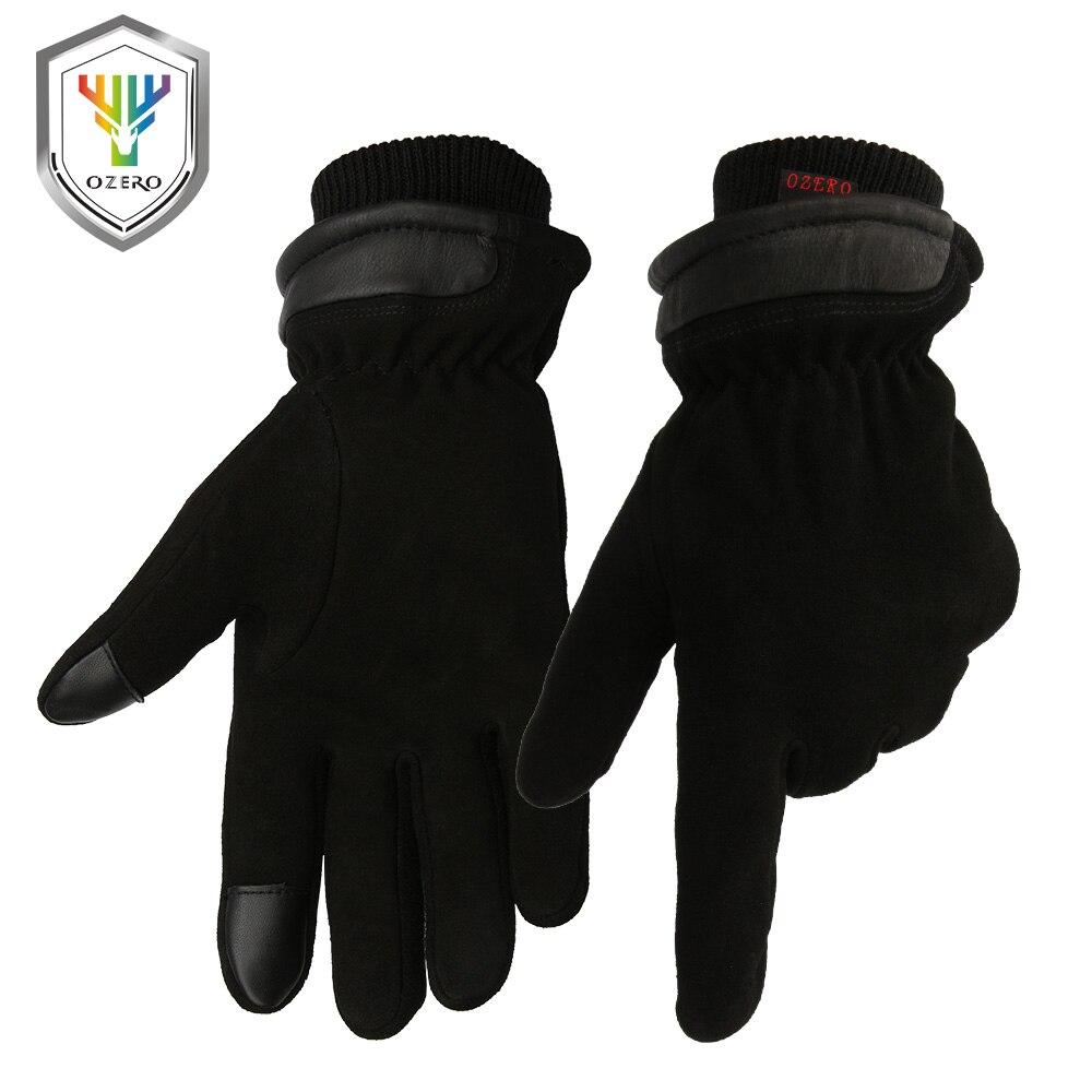 Motorcycle gloves deerskin - Ozero Motorcycle Gloves Touch Screen Winter 20f Cold Proof Thermal Men S Warm Deerskin Leather Moto Racing Ski Gloves 8012