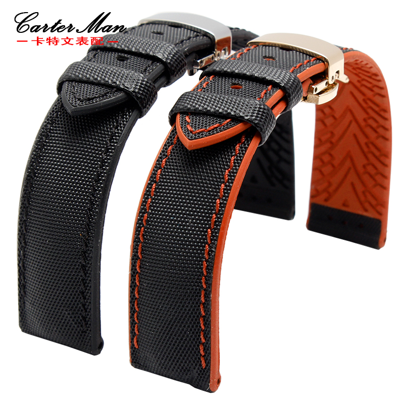 High quality and soft genuine leather with Waterproof rubber bottom watchband for men's Sp