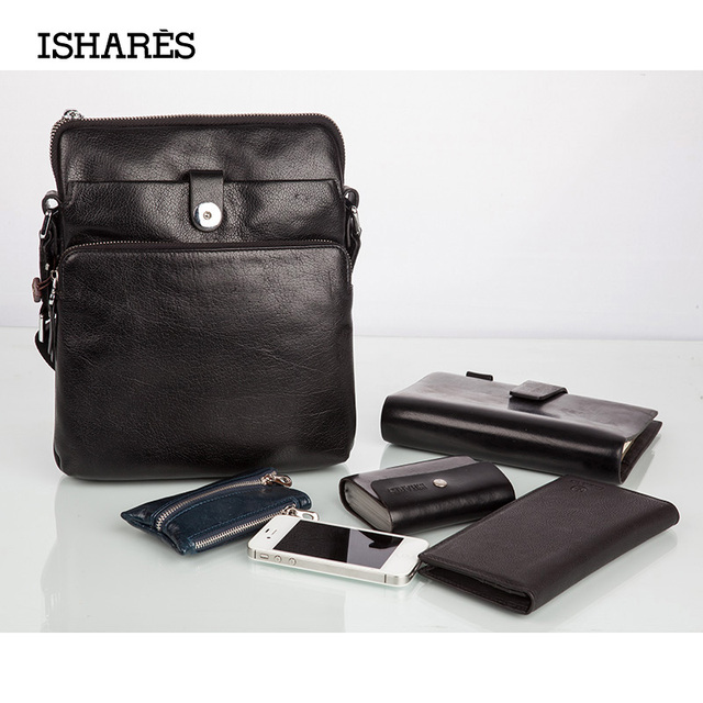 ISHARES  Fahion Casual Handbags For Men Genuine Leather Cowhide Double Hasp Zipper Cross Body Shoulder Bags Korean Style IS5018