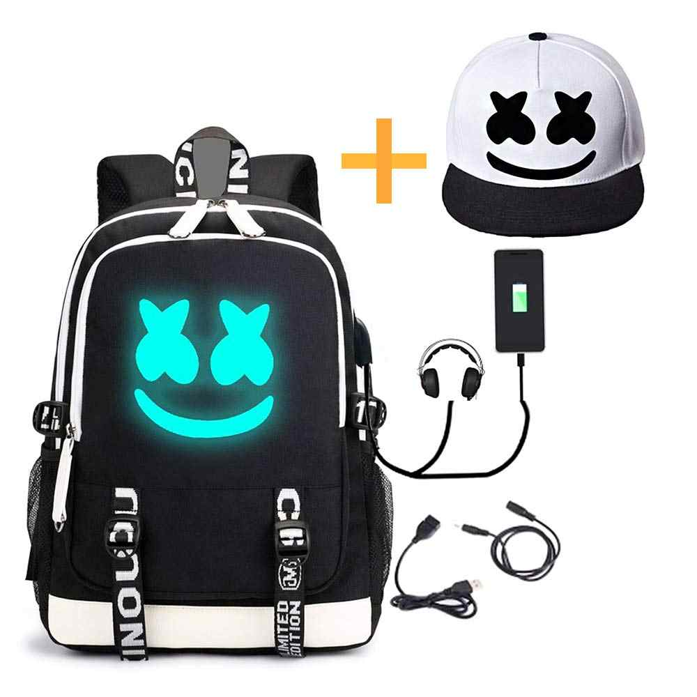 DJ Chris Comstock Doctom Backpack Luminous Cosplay Backpack with USB Charging  Fashion Travel Laptop Backpack Drawstring