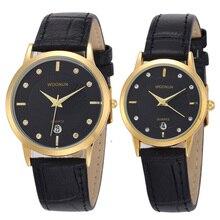 Лидирующий бренд Роскошные Пару Часы для влюбленных Пара Для мужчин и Для женщин кожаный ремешок кварц-часы женщины человека ультра тонкие часы