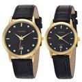 Top Marca de Luxo Casal Relógios Para Amantes Par de Homens e Mulheres Pulseira De Couro De Quartzo-relógio da Mulher do Homem Ultra fino Relógio