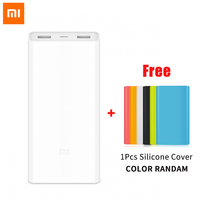 Original Xiaomi Power Bank 20000mAh 2C Portable Charger Support QC3.0 Dual USB Mi External Battery Bank 20000 with Silicone Case